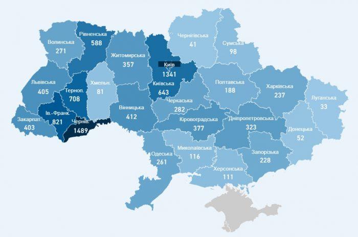 Карта хворих коронавірусів в Україні на 29 квітня