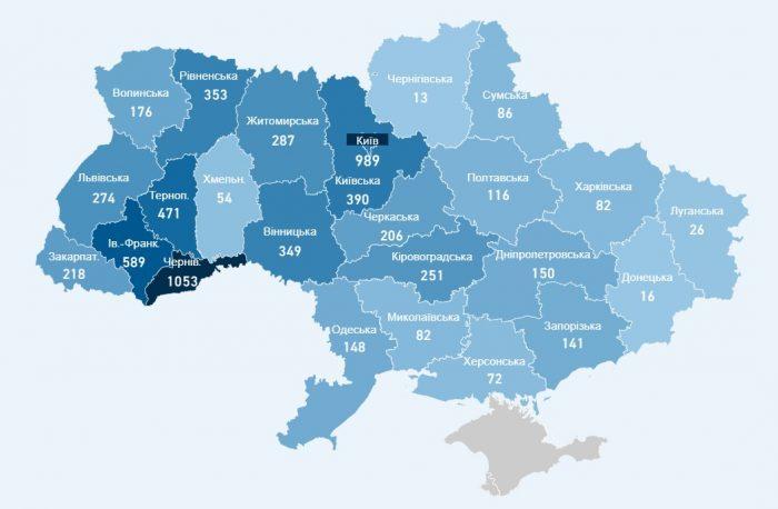 Количество заболевших коронавирусом в Украине на 22 апреля