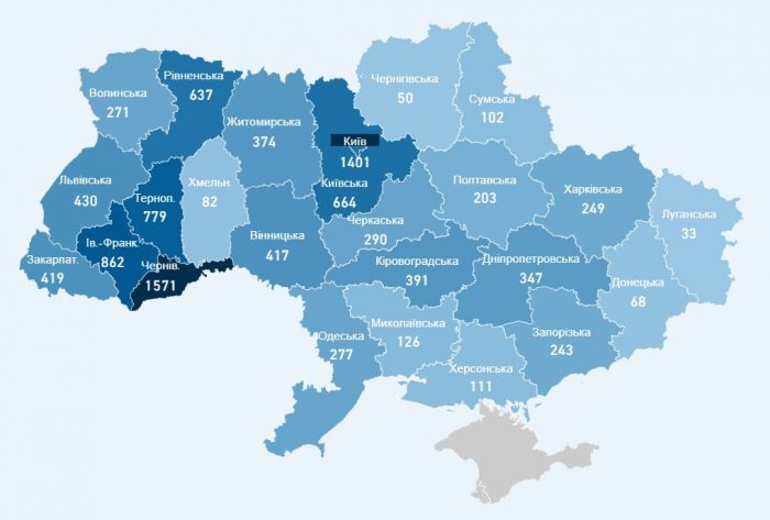 Карта хворих коронавірусів в Україні на 30 квітня