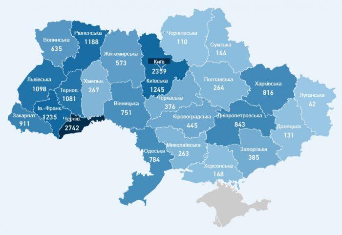 Карта заболевших коронавирусом в Украине на 19 мая