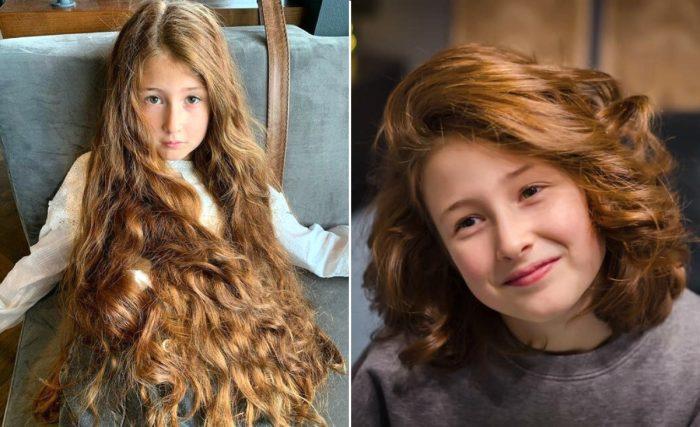 Эмилия до и после стрижки