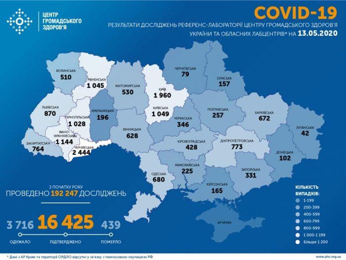 Карта заболевших коронавирусом в Украине на 13 мая