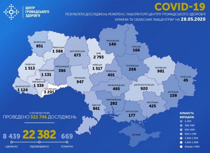Карта заболеваемости коронавирусом в Украине на 28 мая