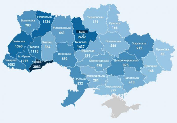 Карта захворюваності коронавірусів в Україні на 25 травня