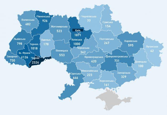 Карта заболевших коронавирусом в Украине на 11 мая