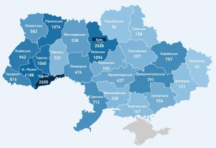 Карта заболевших коронавирусом в Украине на 15 мая