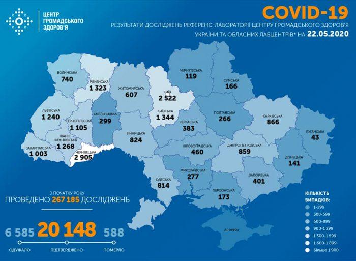Карта заболеваемости коронавирусом в Украине на 22 мая