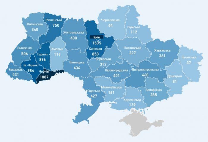 Карта заболевших коронавирусом в Украине на 4 мая