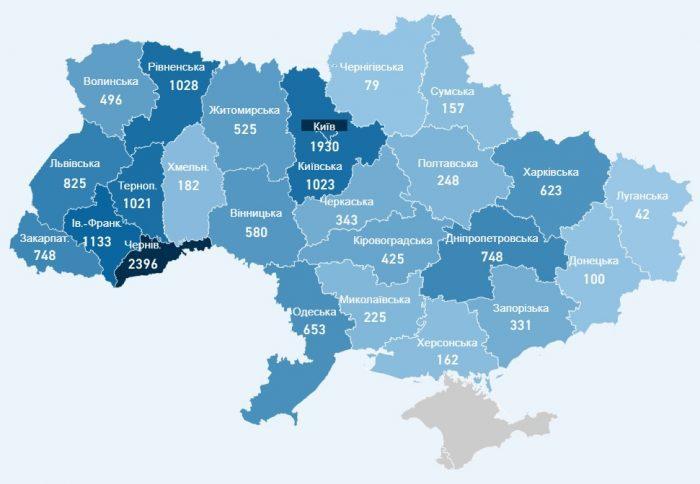 Карта хворих коронавірусів в Україні на 12 травня