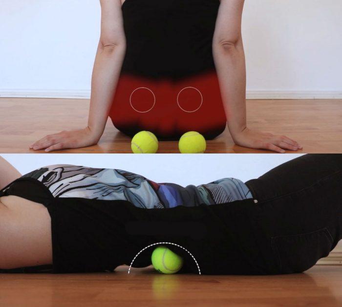 Теннисный мячик от боли в спине