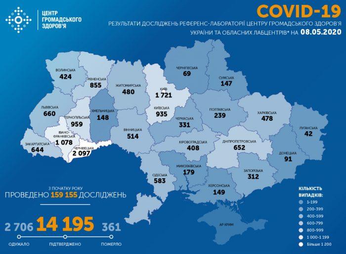 Карта заболевших коронавирусом в Украине на 8 мая