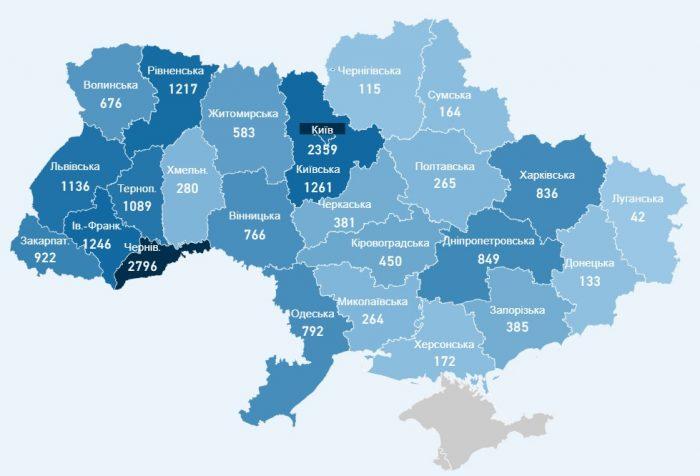 Карта хворих коронавірусів в Україні на 20 травня