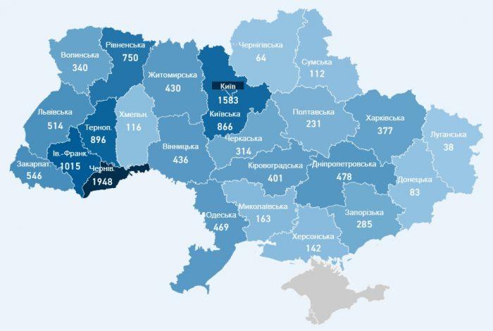 Карта заболевших коронавирусом в Украине на 5 мая