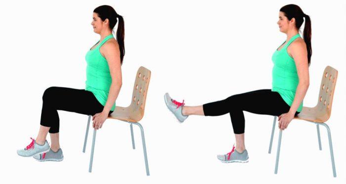 Упражнение «шагание на стуле»