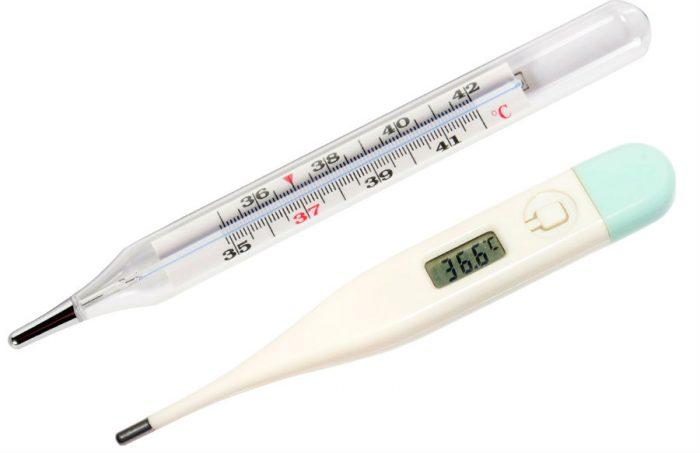 Ртутный и электронный градусники