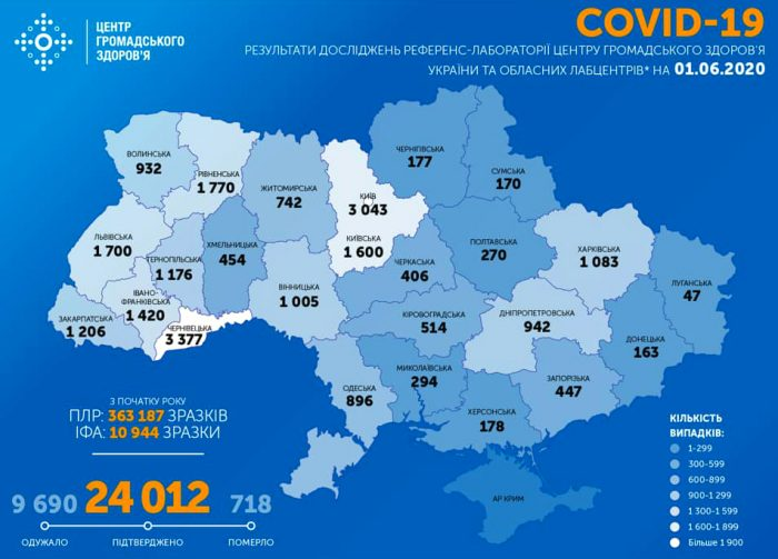 Карта заболеваемости коронавирусом в Украине на 1 июня