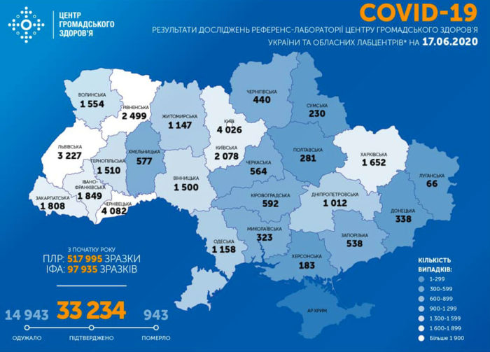 Карта заболеваемости коронавирусом в Украине на 17 июня