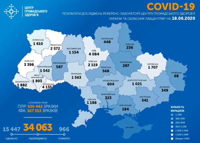Карта заболеваемости коронавирусом в Украине на 18 июня