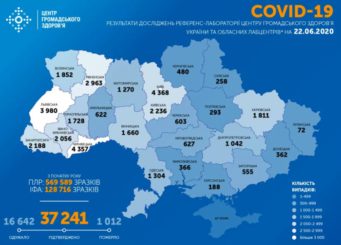 Карта заболеваемости коронавирусом в Украине на 22 июня