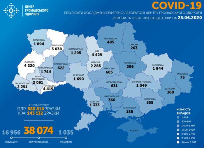 Карта заболеваемости коронавирусом в Украине на 23 июня