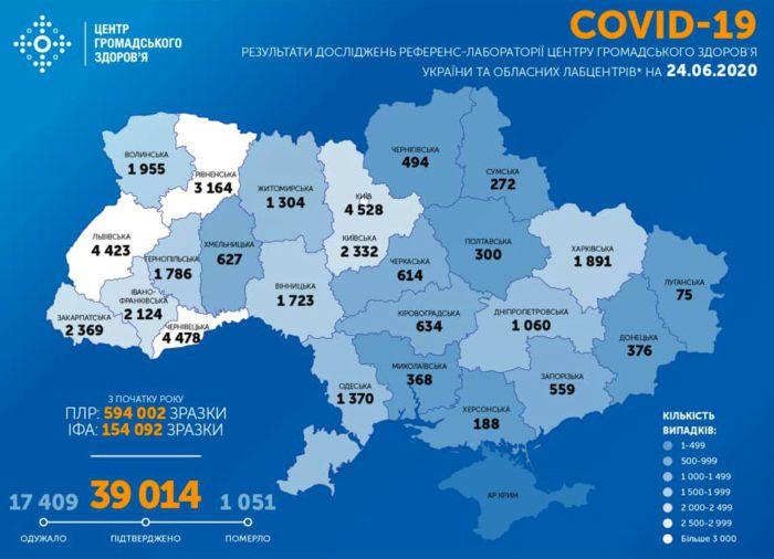 Карта заболеваемости коронавирусом в Украине на 24 июня