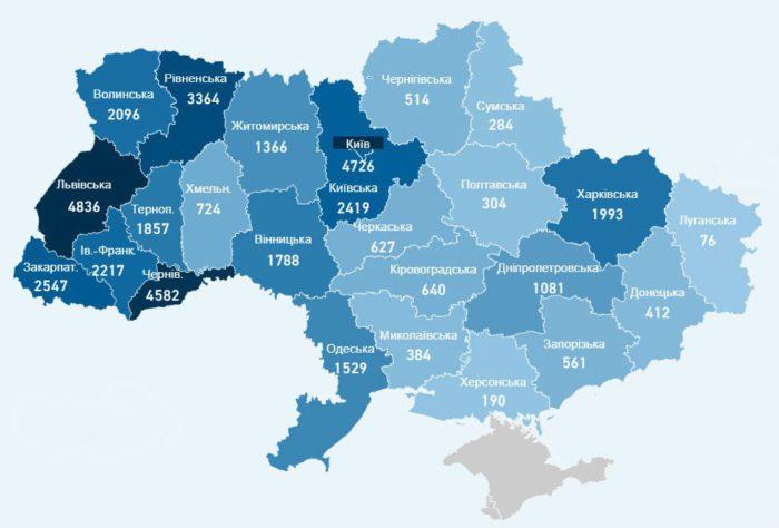 Карта заболеваемости коронавирусом в Украине на 26 июня
