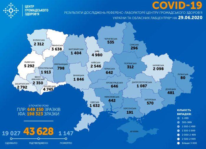 Карта заболеваемости коронавирусом в Украине на 29 июня