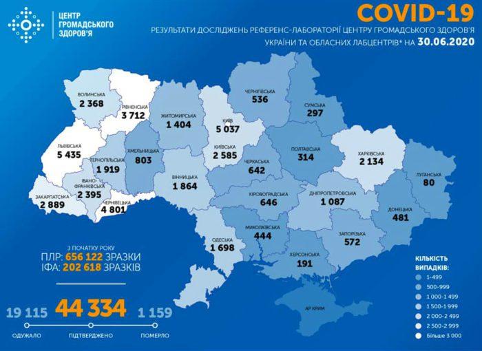 Карта заболеваемости коронавирусом в Украине на 30 июня
