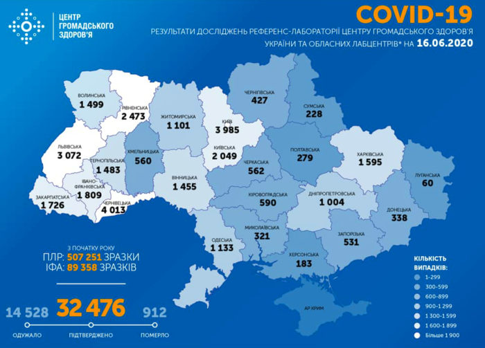 Карта заболеваемости коронавирусом в Украине на 16 июня