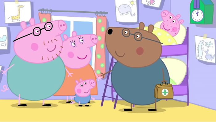 Свинка Пеппа с родителями и доктором Медведем